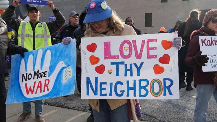 Antiwar protesters Trump Rally Toledo