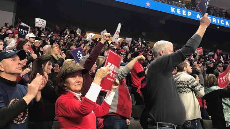 Trump supporters inside Huntington Center rally