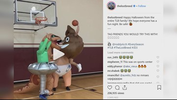 Holy crap! Man wearing poop emoji costume dunks on others wearing Halloween costumes