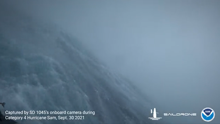 Unmanned drone captures incredible video inside Hurricane Sam
