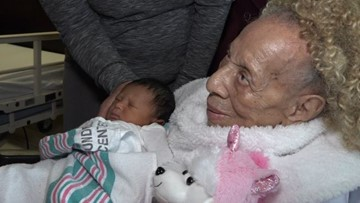 105-year-old Maryland matriarch meets 5th generation grand baby for first time