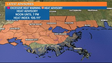 'Dangerous' heat expected Monday for Louisiana, Mississippi